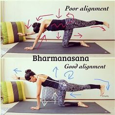 UPDATED: Good vs Poor Alignment Table Pose Stability is such an important basic asana that relates to many others. It helps coordination, body awareness, balance, focus and concentration, strengthening the upper body, core, and legs. That's why developing a good alignment with it, will help with more advance poses like tiger pose, warrior three, Natarajasana, etc. . 1) Keep the hands as wide as the shoulders and under the shoulders . 2) Keep the knees as wide as the hips and