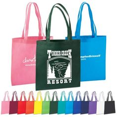 Durable eco friendly tote bag made from 80 GSM Non woven Polypropylene material. Our non woven material is recyclable. Sleek open tote with stitched seams, hemmed opening, and reinforced handle stitching. Handles are in length. 13 W x 14 L Liberty Bag, Trade Show Giveaways, Non Woven Bags, Promotional Bags, Nylon Tote Bags, Drawstring Bags, Custom Tote Bags, Reusable Grocery Bags, Poly Bags