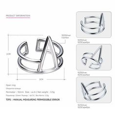 Tardoo Fashion Genuine 925 Sterling Silver Rings for Women Triangle Punk & Sport Style Adjustable Cuff Rings Fine Jewelry