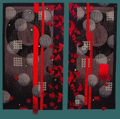 Smoke and Mirrors - Thom Atkins. two panel beaded art quilt, 50 x 53