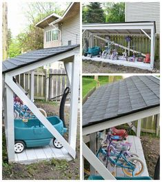 Backyard Bike Storage with an Easy to Install Roof It's easy to install a new roof on a backyard structure like a shed, playhouse, or lean-to.It's easy to install a new roof on a backyard structure like a shed, playhouse, or lean-to. Backyard Playground, Backyard For Kids, Backyard Projects, Outdoor Projects, Playground Toys, Backyard Toys, Backyard Playhouse, Backyard Pergola, Pergola Kits