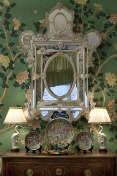 Antique wallpaper and mirror