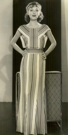 f4533520c61 1934 striped evening dress gown early mid 30s era photo print ad column  dress Egyptian influence