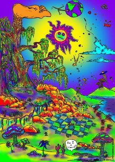 New Psychedelic Trippy mush Sticker Poster 14x21 24x36 Art Gift X-2273