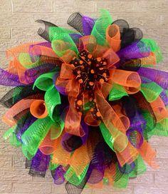 Halloween Mesh Wreath on Etsy, $50.00