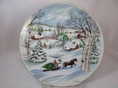 Vintage Christmas Plate ~ Hand Painted Lefton Christmas Winter Scene Plate * Circa, 1950's