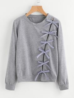Grey Marled Detail With Bow Tie Sweatshirt #DiyFashion