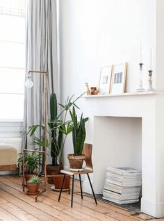 Like this use of fireplace as a design feature in the room. Little cacti grouping also works really well against an all white background and wooden floors.