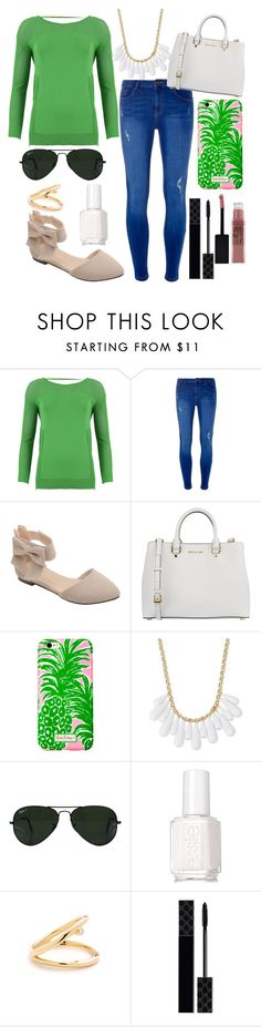 """""""Untitled #284"""" by bballgirl9 ❤ liked on Polyvore featuring FRACOMINA, Dorothy Perkins, MICHAEL Michael Kors, Lilly Pulitzer, INC International Concepts, Ray-Ban, Essie, Gucci and Maybelline"""