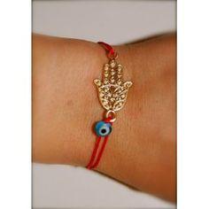 Naz Collection by Harika Ozkaya  Red String Gold Plated Hamsa Evil Eye Bracelet