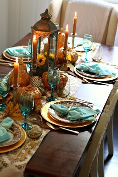 Sparkle and Sky Fall Tablescape