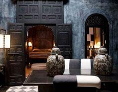 dark bedroom, Dar Darma, Marrakech