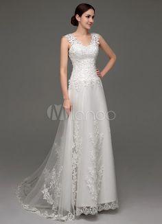 9aa7538aa6d Tüll V-Ausschnitt Illusion zurück Hochzeitskleid mit Spitze Mieder -  Milanoo.com Mieder