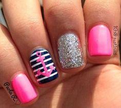 Love the pink and blue! #Anchor #PinkAndBlue #Nails #Navy