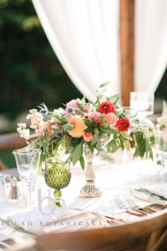 Garden centerpiece in shades of coral, peach and blush including dahlias and garden roses.  Photo by Josh Elliot, coordination/design by Before I Do Events