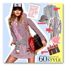 """""""#60 Second Style - Interview at a Tech Company in Mix 'n Match Stripes"""" by nikkisg ❤ liked on Polyvore featuring Oasis, Topshop, Gucci, Louis Vuitton and 60secondstyle"""