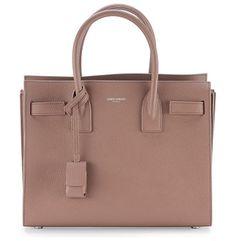 """Sac de jour baby grain leather satchel bag by Saint Laurent. Saint Laurent grain calfskin satchel. Rolled top handles; 3. 7"""" drop. Removable shoulder strap; 2..."""