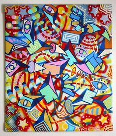Chris Riggs Original Painting Modern Contemporary Abstract Portrait Cubism Urban | eBay