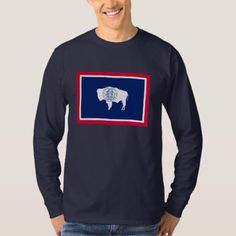 Shop Wyoming State Flag Design T-Shirt created by AmericanStyle. Types Of T Shirts, Wyoming State, Flag Design, Shirt Style, Fitness Models, Shirt Designs, Sweatshirts, Long Sleeve, Sleeves