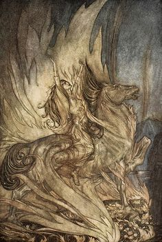 Brunnhilde On Grane Leaps on to the funeral pyre of Siegfried by Arthur Rackham