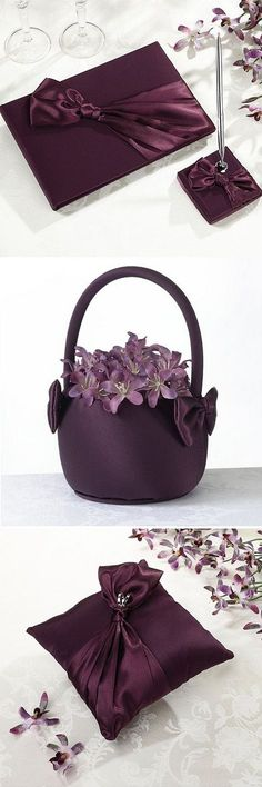 Add a splash of plum purple to your wedding ceremony and reception with guest book and pen set, flower girl basket and ring pillow all wrapped in soft, silky, deep purple satin to match your purple wedding dress and wedding flowers. These purple wedding ceremony accessories can be ordered at http://myweddingreceptionideas.com/purple_wedding_accessory_collections.asp