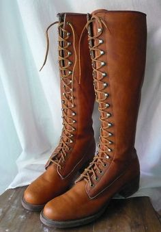 Vintage FRYE Tall Lace Up Boots