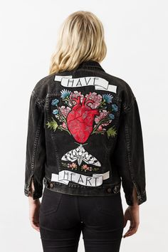 Denim and Bone 'Have Heart' embroidered vintage denim jacket