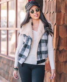 Faux Fur Collar Plaid Fleece Vest