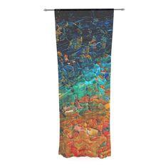 "Ebi Emporium ""Eteranl Tide II"" Teal Orange Decorative Sheer Curtain"