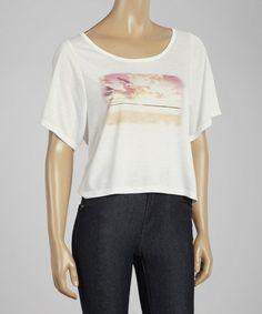 White Sunrise Danna Scoop Neck Top by Jessica Simpson Jeanswear #zulily #zulilyfinds