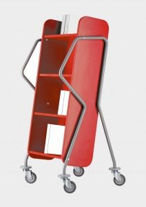 Book Trolley - Cross Runner  Formally the 'Oblique' this book trolley is suitable for all library environments. Easy to grip and ergonomic with angled shelves for easy storage.
