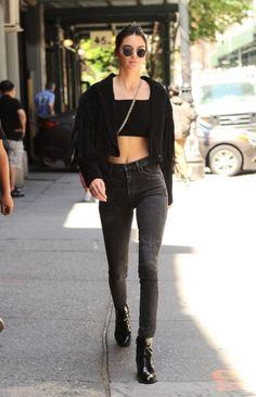 Splurge: Kendall Jenner's SoHo Religion Black Festival Fringe Jacket, Citizens of Humanity Black Oak Carlie High Rise Skinny Jeans, and Louis Vuitton Black Republic Ankle Boots