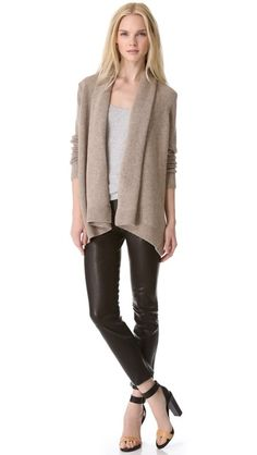 Vince Drape Cardigan, Leather Pants! Love the look!  Love the Vince sandals as well