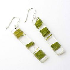 Recycled Resin 2 Earrings - Green Seaweed $35.00 #resin