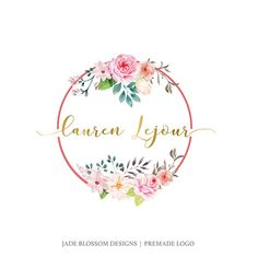 Premade Logo Watercolor Logo  flowers  Watercolour