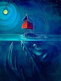 Angler Island painting by Newfoundland artist Adam Young Fogo Island Newfoundland, Adam Young, Young Art, Little Island, Island Tour, Canadian Artists, Fantasy Artwork, Art And Architecture, Folk Art