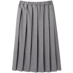 Comme des Garçons Shirt Wool Pleated Skirt (187.900 CLP) ❤ liked on Polyvore featuring skirts, bottoms, grey skirt, grey midi skirt, mid-calf skirt, gray pleated skirt and gray wool skirt
