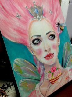 My orginal canvas art painting ~ Marie Antoinette Queen Bee  a pink haired Queen eating a cupcake by KimTurnerArt, $350.00
