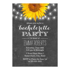bachelorette party country wedding invitations Sunflower & String Lights Bachelorette Party Card