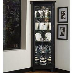 Cairo Corner Curio Cabinet (black)