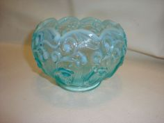 Fenton Blue Opalescent Lily of the Valley Rose Bowl