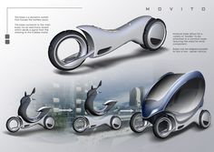 The Transforming Movito Electric Scooter... The Movito consists of two modular parts – an upper scooter chassis, and a base that provides propulsion via an electric motor and rechargeable batteries. The use of an in-wheel motor allows the scooter's chassis to be slim, smoothly sculpted, and exceptionally lightweight. Since the vehicle's propulsion system is designed as a self-contained unit, two bases can be detached and aligned in parallel to create a two-seater vehicle.