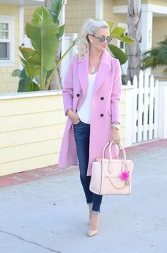 Pink Wool Coat - Mckenna Bleu Cold Weather Fashion, Winter Fashion, Pink Wool Coat, Mckenna Bleu, Work Fashion, Winter Outfits, Cute Outfits, Style Inspiration, Clothes For Women