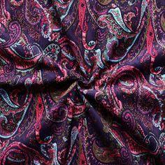 "Feincord Baumwollstoff ""Paisley 4"" Farbe Lila-Violett 14383"
