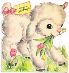 Easter Greetings vintage card w/ lamb (kids) Easter Greeting Cards, Vintage Greeting Cards, Vintage Postcards, Cute Lamb, Vintage Magazine, Old Cards, Diy Ostern, Hoppy Easter, Easter Lamb