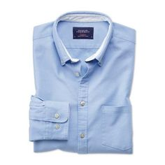 6e4d31f1f777 Classic fit button-down washed Oxford plain sky blue shirt ❤ liked on  Polyvore featuring