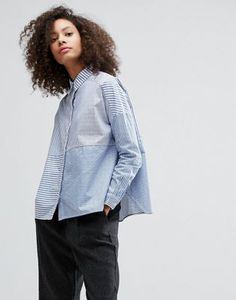 Monki Cut About Stripe Shirt