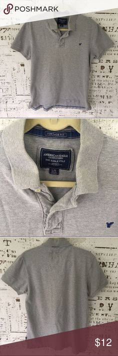 Men's AEO The Eagle Polo sz L F2 Men's AEO The Eagle Polo large, Vintage fit, gray, excellent condition. American Eagle Outfitters Shirts Polos