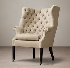 19th C. English Wing Chair - Antiqued Black Walnut