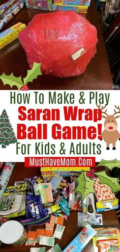 fun and easy saran wrap ball game idea! We played this last year at Christmas for both the adults and the kids and it was a huge hit. Fun Party Games, Birthday Party Games, Craft Party, Ideas Party, Gift Ideas, Carnival Birthday, Party Snacks, Christmas Games For Kids, Valentines For Kids